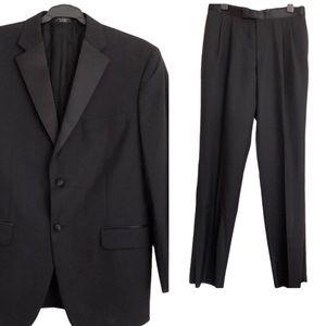 JONES NEW YORK Black Wool Tuxedo Suit Sz 34